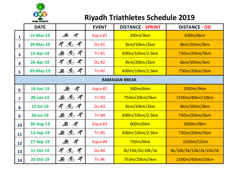 Race Calendar.Race Calendar Riyadh Triathletes
